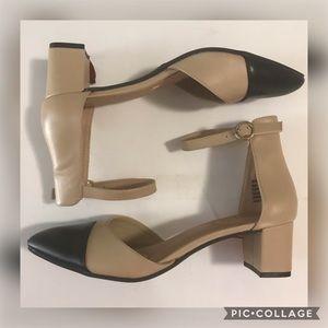 Dexflex Comfort Black & Nude Ankle Strap Mid Heels